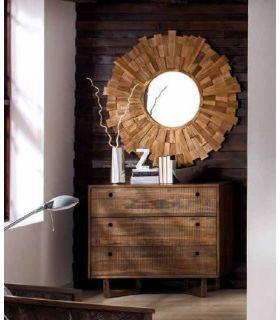 Acheter en ligne Commode Caisson en Bois de Teck: Collection CALVIN