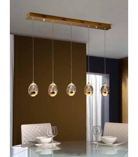 Acheter en ligne Suspensions à LED à 5 Lumières : Collection TOULOUSE Or Linéaire