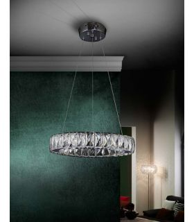 Acheter en ligne Suspension LED en Verre Facetté : Collection DIVA Ronde