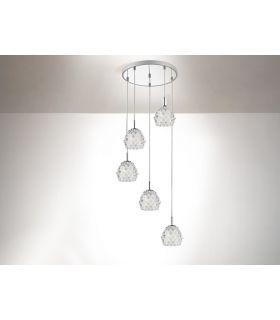 Acheter en ligne Suspension avec des pendules en verre : Collection HESTIA (5 lumières)