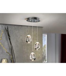 Acheter en ligne Suspension LED avec 3 flammes : Collection ROCIO chromé