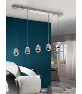 Acheter en ligne Suspensions à LED à 5 Lumières : Collection ROCIO Chrome Linéaire