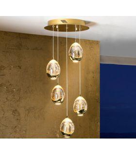 Acheter en ligne Lampe LED TOULOUSE en verre et métal doré.