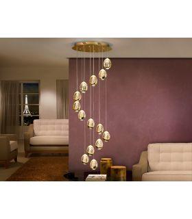 Acheter en ligne Suspension LED avec 14 flammes : Collection ROCIO doré