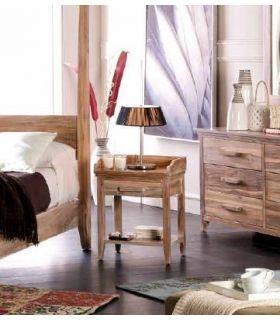 Acheter en ligne Tables de Chevet en Bois de Teck : Collection LYRA
