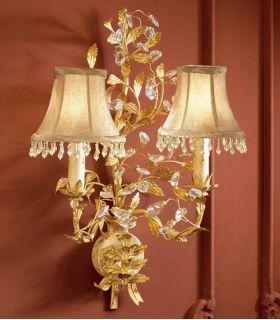 Acheter en ligne Appliques florentines avec des abat-jours : modèle VERDI (à 2 ampoules, or)
