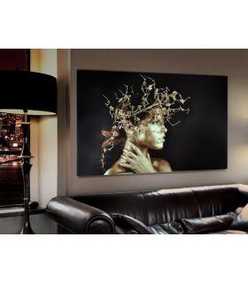 Acheter en ligne Tableau en lamelles photographiques : Modèle FEMME DORÉE