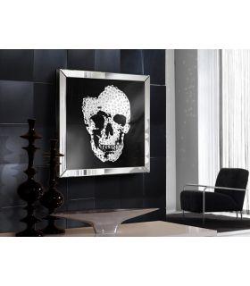 Acheter en ligne Tableau Décoratif avec Cadre en Miroir : Modèle SKULL