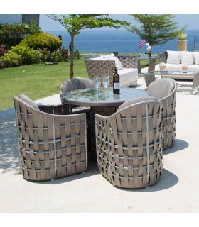 Acheter en ligne Table à manger ronde pour terrasse et jardin : Collection STRIPS