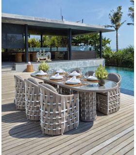 Acheter en ligne Table à manger ovale pour terrasse et jardin : Collection STRIPS