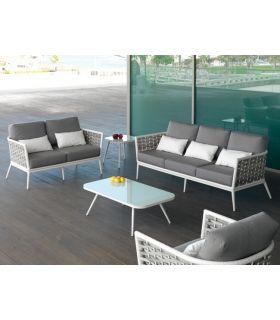 Acheter en ligne Canapé 2 places en aluminium et rotin synthétique : Collection VIENA