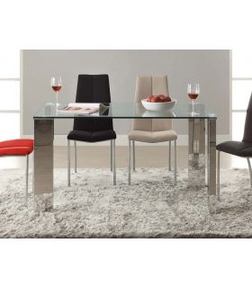 Acheter en ligne Table à dîner en verre et acier chromé Schuller BLOIS