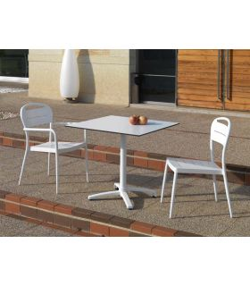Acheter en ligne Table carrée d'extérieur : Modèle CANCUN blanc