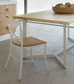 Acheter en ligne Chaise en fer forgé artisanal avec un siège en bois modèle MANILA