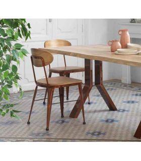 Acheter en ligne Chaise en fer forgé avec dossier en bois modèle AUSTIN