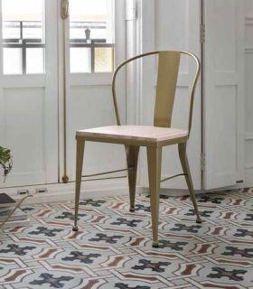 Acheter en ligne Chaise en fer forgé avec un siège en bois modèle TURIA