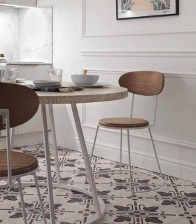 Acheter en ligne Chaise en fer forgé et bois avec un siège ronde modèle TOULOUSE
