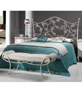 Acheter en ligne Tête de lit en fer forgé fabriquée à la main modèle CYNTHIA patine blanche