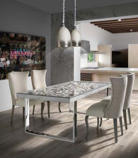Acheter en ligne Table à manger de style moderne : Modèle ATLANTIC SHELL