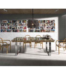Acheter en ligne Table à manger en acier et bois : Collection DRIFTWOOD