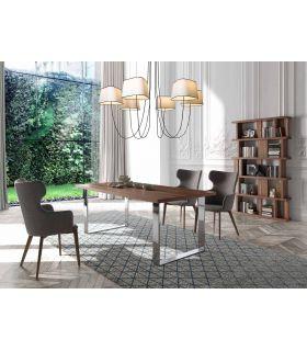 Acheter en ligne Table à manger en acier et bois : Modèle RUANE
