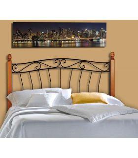 Acheter en ligne Têtes de lit en fer forgé avec barres en bois: modèle CRISTINA II.