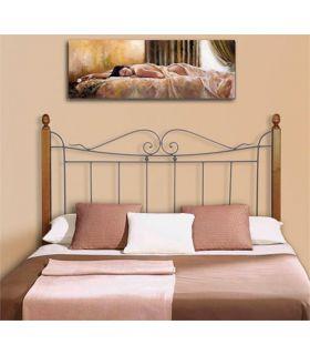 Acheter en ligne Têtes de lit en fer forgé avec barres en bois: modèle TOULON.