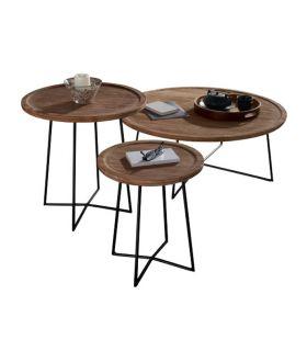 Acheter en ligne Lot de Tables Basses en Teck : Modèle INMA