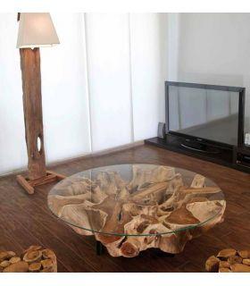 Acheter en ligne Table Basse en Bois Naturel : Modèle NAGA Ronde