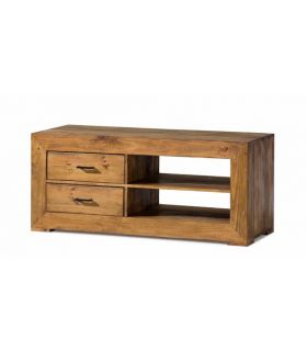 Acheter en ligne Tables TV en Bois Naturel : Collection ZOOM à 2 Tiroirs