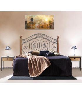 Acheter en ligne Têtes de lit en fer forgé avec barres en bois: modèle CAPRI.
