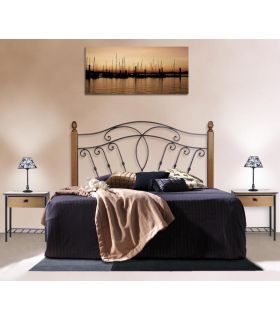 Acheter en ligne Têtes de lit en fer forgé avec barres en bois: modèle CUBA.