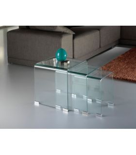 Acheter en ligne Tables Gigogne en Verre Transparent : Collection GLASS