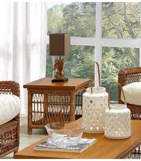 Acheter en ligne Tables d´appoint en Rotin et Bois : Collection ALBERT Marron