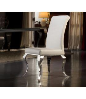 Acheter en ligne Chaises en Acier et Similicuir : Collection BARROQUE Blanc