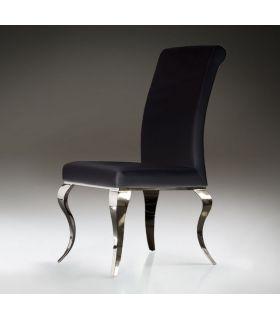 Acheter en ligne Chaises en Acier et Similicuir : Collection BARROQUE Noir