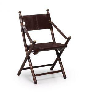 Acheter en ligne Chaise pliable en bois et en cuir : Modèle TARLTON