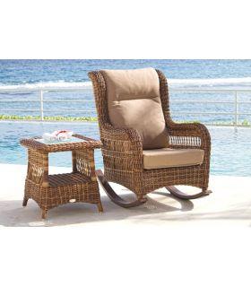 Acheter en ligne Rocking-chair en rotin pour terrasse et jardin : Collection EBONY